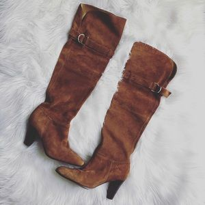 Naturalizer Sz 6 Knee High Leather Cognac Boots